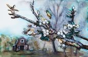 Watercolor Painting of a Barn Scene wall mural thumbnail