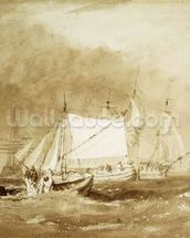 Shipping Scene, with Fishermen, c.1815-20 (brush & brown ink on paper) wallpaper mural thumbnail