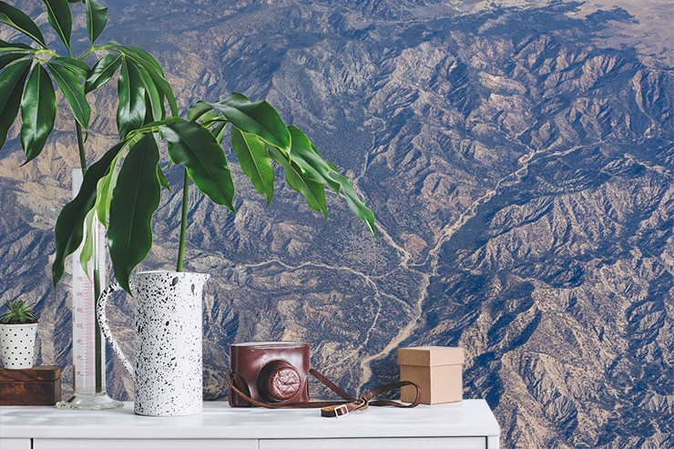 aerial view of dry and hot california mountains wallpaper on wall beside shelf with plant and camera on it