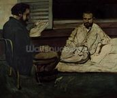 Paul Alexis (1847-1901) Reading a Manuscript to Emile Zola (1840-1902) 1869-70 (oil on canvas) wallpaper mural thumbnail