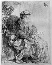 Abraham holding young Isaac, c.1637 (etching) mural wallpaper thumbnail