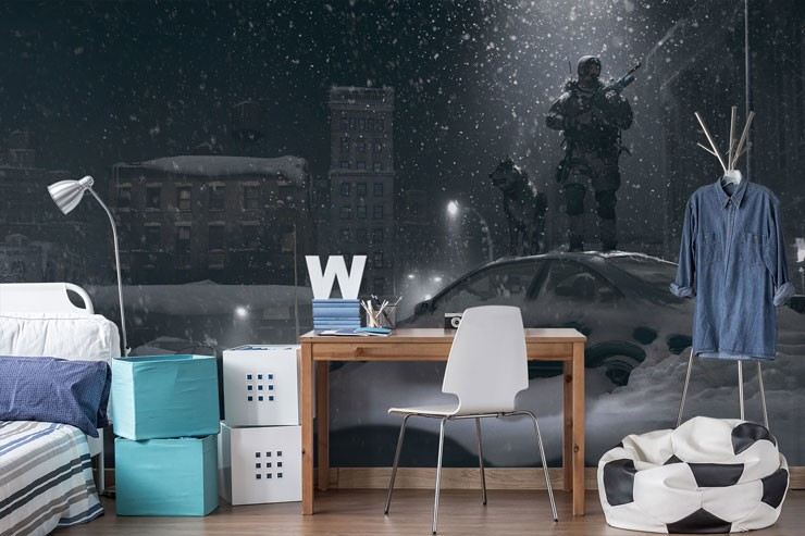 gaming soldier and dog in snowy city wallpaper in teenager's bedroom