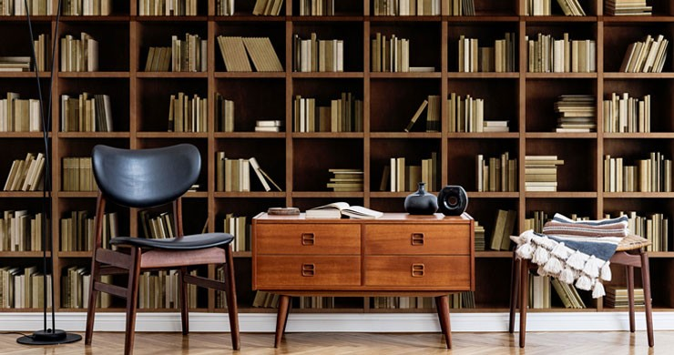 brown and beige bookcase in trendy lounge