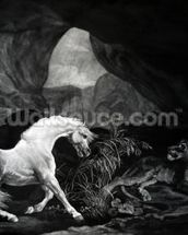 A Horse startled by a Lioness, engraved by Benjamin Green, 1774 (engraving) wallpaper mural thumbnail