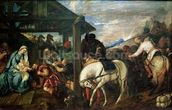 The Adoration of the Magi, c.1561 (oil on canvas) wallpaper mural thumbnail