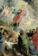 The Assumption of the Virgin Mary (oil on panel) wallpaper mural thumbnail
