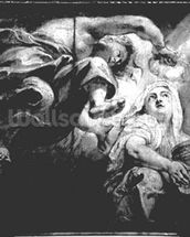 Religion Crowned by Genius, study for The Apotheosis of James I, c.1629-34 (drawing) (b/w photo) wallpaper mural thumbnail