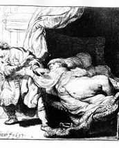 Joseph and Potiphars wife, 1634 (etching) wall mural thumbnail