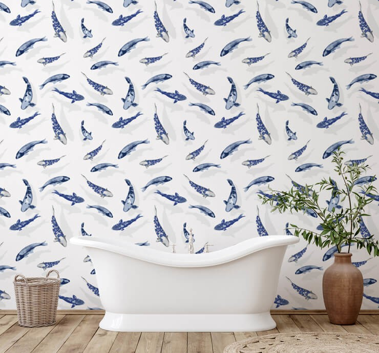 blue and white fish wallpaper in minimalist bathroom design