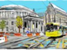 Central Library with Tram wall mural thumbnail