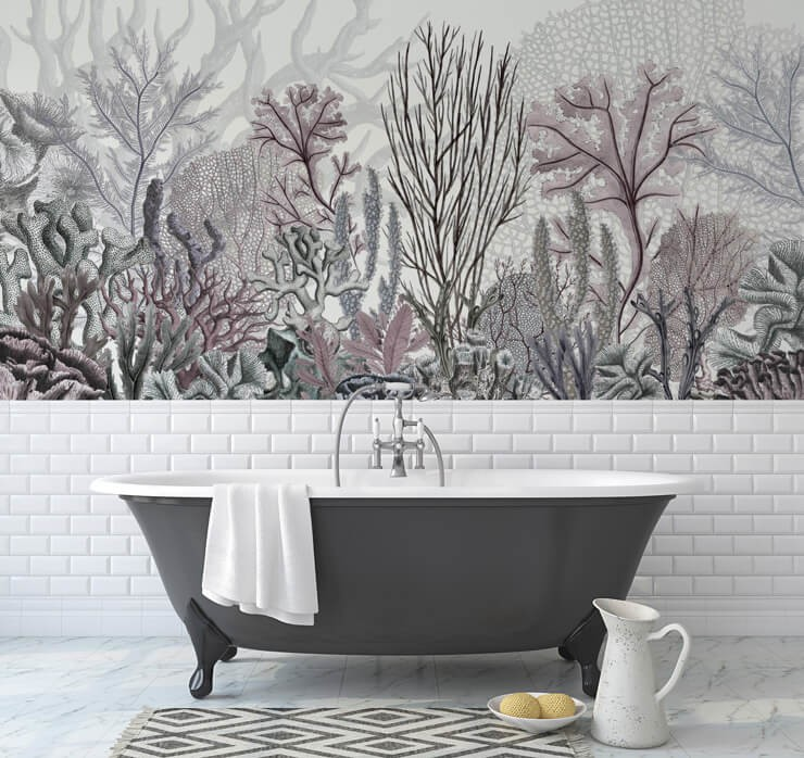 vintage illustration of purple and blue coral in white and grey minimalist bathroom design