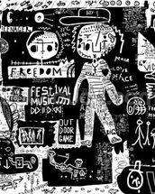 Graffiti - Black and White wall mural thumbnail