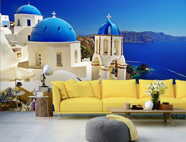 Window-view-mural-of-Santorini