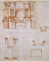 Studies for a monumental wall tomb (for the tombs of Clement VII and Leo X projected for the choir of San Lorenzo, Florence?) 1525-26 (pen & brown in on paper) (recto) (for verso see 191780) wall mural thumbnail