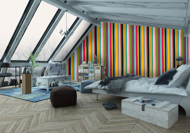 Sloping Ceiling Coloured Lines Wall Mural
