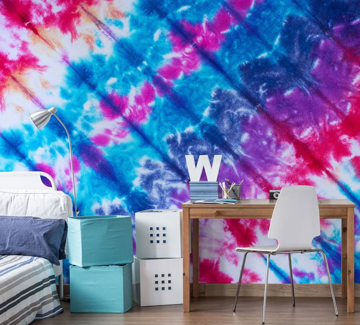 colourful tie dye mural in students bedroom
