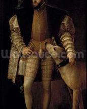 Charles V (1500-58) Holy Roman Emperor and King of Spain with his Dog, 1533 (oil on canvas) wall mural thumbnail