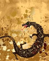 Dragon on a background grunge mural wallpaper thumbnail