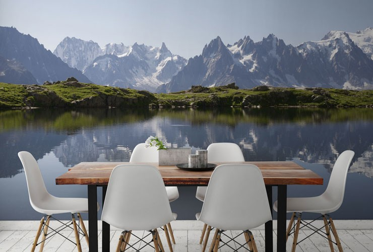 stretch of alpine mountains and lake in modern dining room