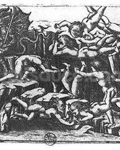 Hell, from The Divine Comedy by Dante Alighieri (1265-1321) (engraving) (b/w photo) mural wallpaper thumbnail