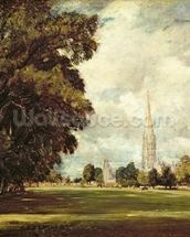 Salisbury Cathedral from Lower Marsh Close, 1820 (oil on canvas) mural wallpaper thumbnail
