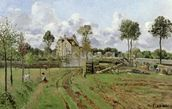 Landscape, Louveciennes, c.1872 (oil on canvas) wallpaper mural thumbnail