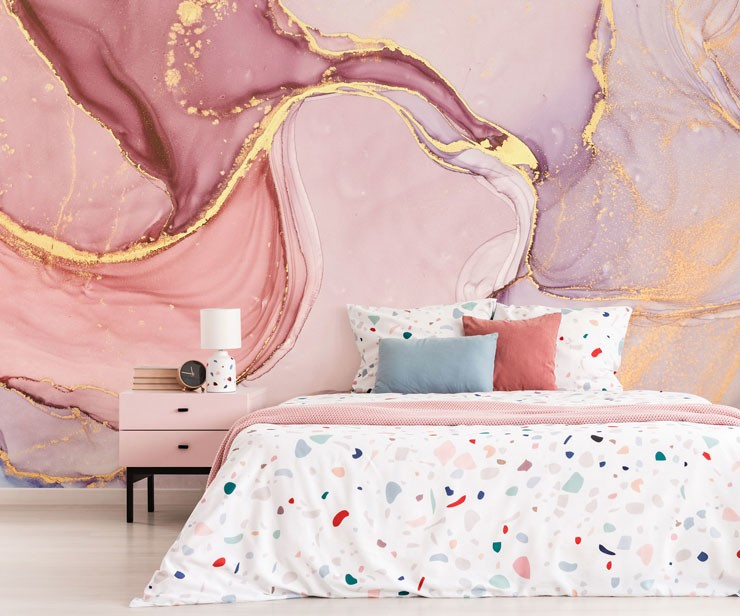 pink and gold marble wallpaper in trendy teenager's bedroom