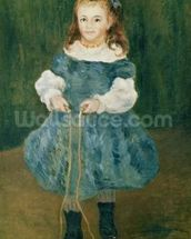 Girl with a skipping rope, 1876 (oil on canvas) wall mural thumbnail