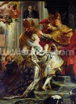 The Medici Cycle: The Coronation of Marie de Medici (1573-1642) at St. Denis, 13th May 1610, detail of the crowning, 1621-25 (oil on canvas) wall mural thumbnail