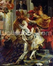 The Medici Cycle: The Coronation of Marie de Medici (1573-1642) at St. Denis, 13th May 1610, detail of the Princesses of Guemenee and Conti, 1621-25 (oil on canvas) mural wallpaper thumbnail