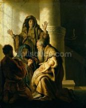 Simeon and Hannah in the Temple, c.1627 (oil on panel) mural wallpaper thumbnail