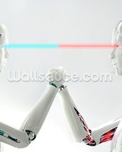 Robot android men in competition wall mural thumbnail