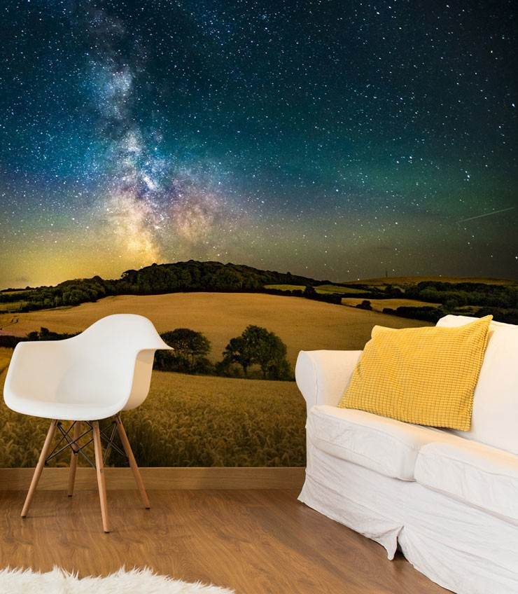 small living room with night sky wallpaper