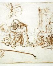 Christ on the Mount of Olives (pen, brush and brown ink on paper) wall mural thumbnail