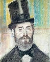 Man in an Opera Hat (pastel on paper) mural wallpaper thumbnail