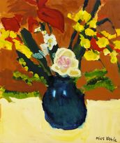 Colorful Flower Bouquet In Vase (Oil Painting) wallpaper mural thumbnail