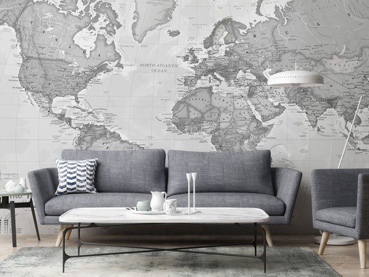 Grey Map mural in modern living room with grey sofa