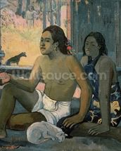 Eiaha Ohipa or Tahitians in a Room, 1896 (oil on canvas) mural wallpaper thumbnail