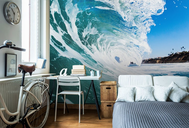 rolling frothy waves wallpaper in apartment trendy bedroom