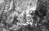 The Circumcision, 1654 (etching) (b/w photo) mural wallpaper thumbnail