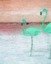 Flamingo Pink Green mural wallpaper thumbnail