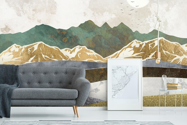 brown, golden ochre, white and teal abstract mountains wallpaper in lounge with grey sofa