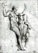Psyche presenting Venus with water from the Styx, 1517 (red chalk on paper) (b/w photo) wallpaper mural thumbnail