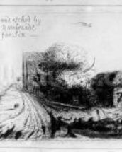 Landscape with country lane and cottages, etched by Benjamin Wilson, 1751 (etching) mural wallpaper thumbnail