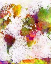 World Map Colour Splash mural wallpaper thumbnail