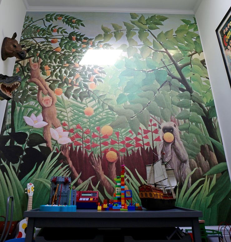 Henri Rousseau tropical jungle with monkey painting wallpaper in cool child's bedroom