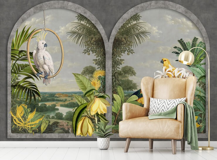 illustrated window with tropical birds in tones of yellow, grey and green in room with light tan leather chair