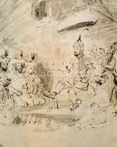 The Emperor Timur (1336-1405) on his Throne, after an Indian miniature (pen & ink on paper) wall mural thumbnail
