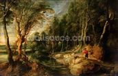 A Shepherd with his Flock in a Woody landscape, c.1615-22 (oil on oak) wallpaper mural thumbnail