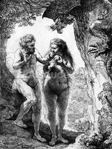 Adam and Eve, 1638 (etching) wallpaper mural thumbnail